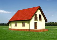 Красивый двухэтажный дом в европейском стиле с пристроенным гаражом