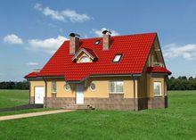 Великолепный двухэтажный дом с высоким цоколем из натурального камня