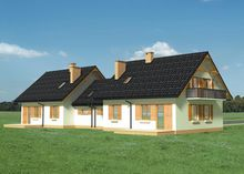 Архитектурный проект стильного коттеджа для двух семей
