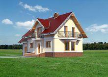Проект симпатичного загородного дома с четырьмя спальнями