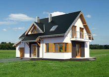 Проект небольшого дома с мансардой с четырьмя спальнями