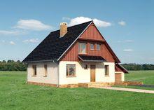 Проект современного коттеджа с гаражом под одной крышей