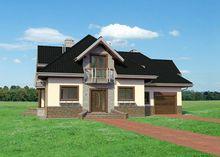 Красивый загородный коттедж с эркерами и полукруглыми балконами
