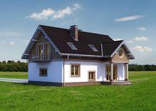 Интересный проект дома с балконами и эркером