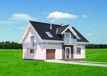 Интересный проект дома с гаражом и тремя балконами