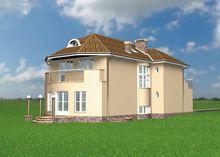 План шикарного особняка с просторными балконами