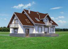 План элегантного двухэтажного особняка с четырьмя ажурными балконами