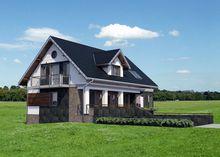 Проект коттеджа с мансардой со строгим фасадом