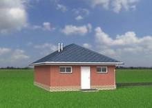 Проект отдельного гаража на один автомобиль с многоскатной крышей