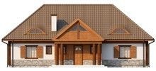 Проект коттеджа в ретро стиле с четырехскатной крышей и мансардой
