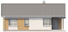 Проект небольшого одноэтажного коттеджа с угловым окном кухни
