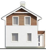 Проект двухэтажного небольшого коттеджа, адаптированного под узкий участок