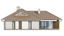 Проект 1 этажного дома с аккуратной угловой террасой