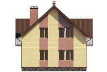 Проект видного двухэтажного дома на три спальных помещения