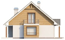 Проект коттеджа с мансардой и балконом в спальне хозяев