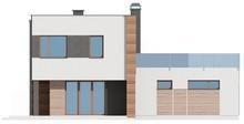 Проект двухэтажного дома с плоской крышей и гаражом
