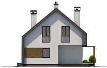 План стильного дома с просторной террасой на крыше гаража, общей площадью 151 кв. м, жилой 65 кв. м