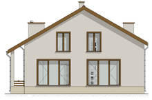 Проект жилого дома песочных оттенков с цокольным этажом
