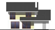 Двухэтажный жилой дом, декорированный кирпичом и деревом