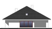 Современный одноэтажный дом с высокой четырехскатной крышей