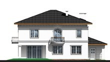 Проект жилого дома с тремя ажурными балконами