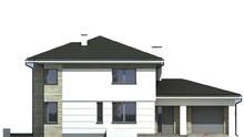 Проект двухэтажного  дома с выходом на полукруглую веранду