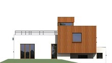 План дома общей площадью 180 кв. м с гаражом в полуподвальном помещении