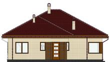 Проект симпатичной усадьбы в теплом желто-шоколадном контрасте общей площадью 115 кв. м, жилой 59 кв. м