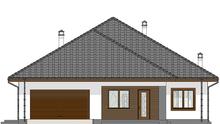 План роскошного одноэтажного коттеджа с массивными квадратными колоннами