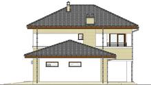 План стильного коттеджа с пристроенным гаражом на две машины