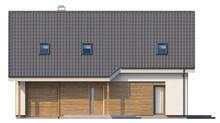 Проект загородного дома с просторным балконом на мансардном этаже