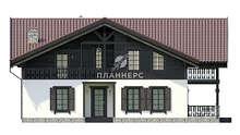 Схема французского дома в стиле шале с двумя балконами общей площадью 208 кв. м