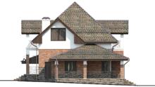 Схема двухэтажного коттеджа площадью 155 кв. м со стильным входным порталом и ажурным балконом
