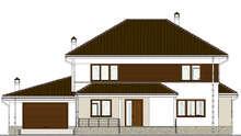 Схема европейского дома площадью 285 кв. м с красочным экстерьером