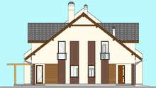 Схема современного коттеджа на двух хозяев общей площадью 416 кв.м с французскими балконами