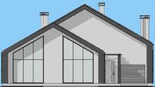 Проект оригинального коттеджа в стиле дома-амбара площадью 208 кв. м со встроенным гаражом и вторым светом