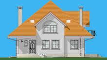 Проект трехэтажного особняка площадью 316 кв. м с красивым входным крыльцом
