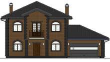 Проект большого двухэтажного дома с гаражом для 2х авто