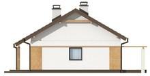 Проект маленького аккуратного одноэтажного коттеджа с двускатной крышей