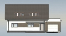 Проект коттеджа на один этаж с мансардой и большим окном в гостиной