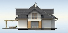 Проект коттеджа с симпатичными окнами и гаражом для двух автомобилей