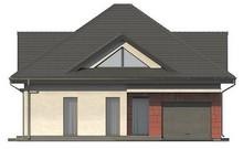 Проект оригинального коттеджа со встроенным гаражом и остекленной гостиной