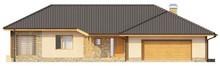 Проект уютного коттеджа с гаражом для двух автомобилей и четырехскатной крышей
