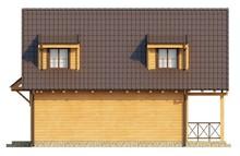 Проект коттеджа с деревянным фасадом и печью на улице