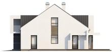 Проект современного коттеджа с мансардой и оригинальным балконом