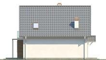 Проект 1,5-этажного загородного дома с кухней на южной стороне