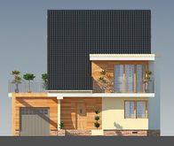 Проект загородного коттеджа с мансардой чердаком и огромным балконом