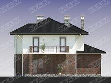 Проект загородного коттеджа со встроенным гаражом и кирпичным фасадом