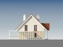 Небольшой уютный коттедж с мансардой и просторной террасой