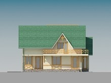 Проект загородного коттеджа с мансардой и большими балконами